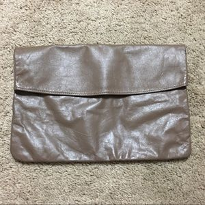 Vintage brown taupe soft leather fold over clutch